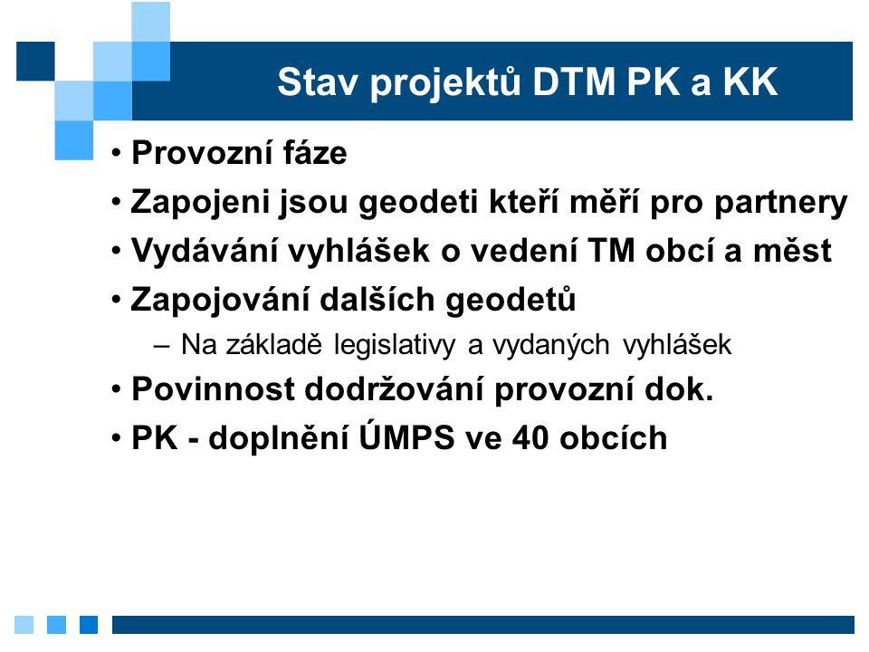 Stav projektů DTM PK a KK