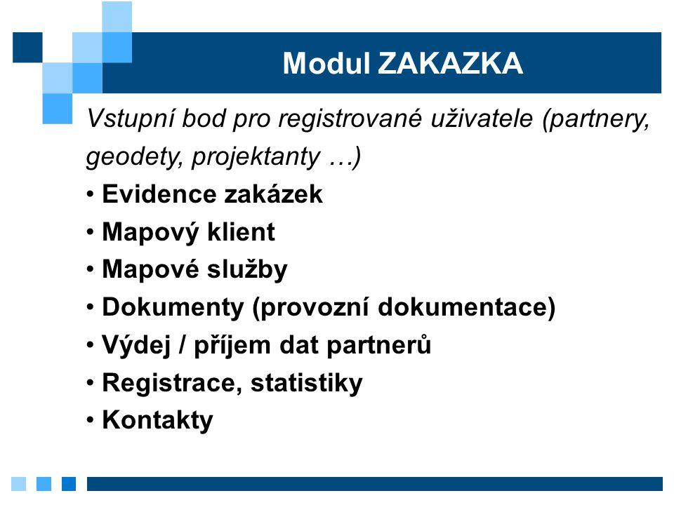 Modul ZAKAZKA Vstupní bod pro registrované uživatele (partnery, geodety, projektanty …) Evidence zakázek.
