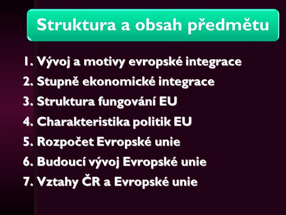 Struktura a obsah předmětu