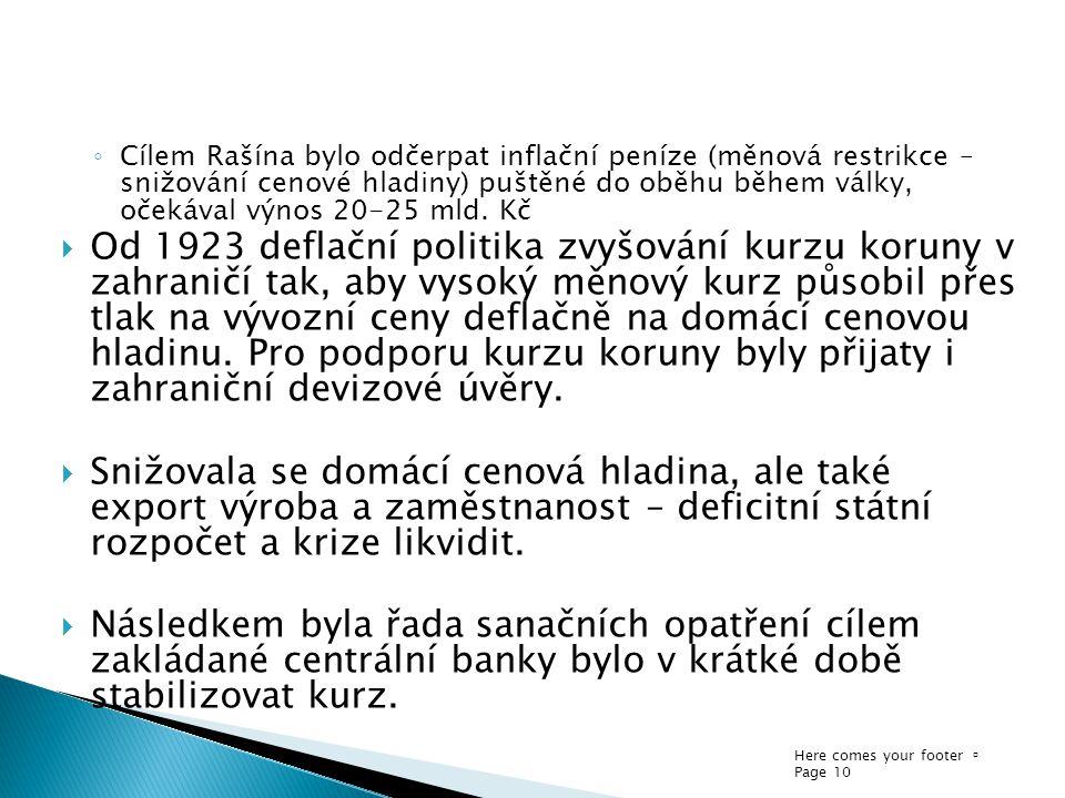 Cílem Rašína bylo odčerpat inflační peníze (měnová restrikce – snižování cenové hladiny) puštěné do oběhu během války, očekával výnos 20-25 mld. Kč