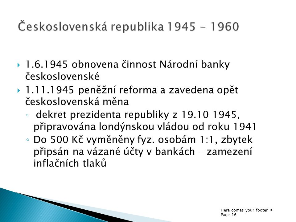 Československá republika 1945 - 1960