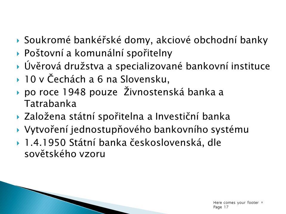 Soukromé bankéřské domy, akciové obchodní banky