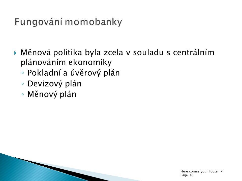 Fungování momobanky Měnová politika byla zcela v souladu s centrálním plánováním ekonomiky. Pokladní a úvěrový plán.