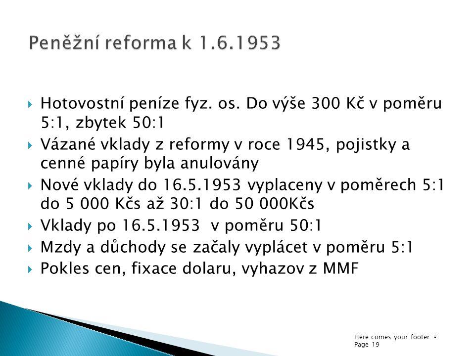 Peněžní reforma k 1.6.1953 Hotovostní peníze fyz. os. Do výše 300 Kč v poměru 5:1, zbytek 50:1.