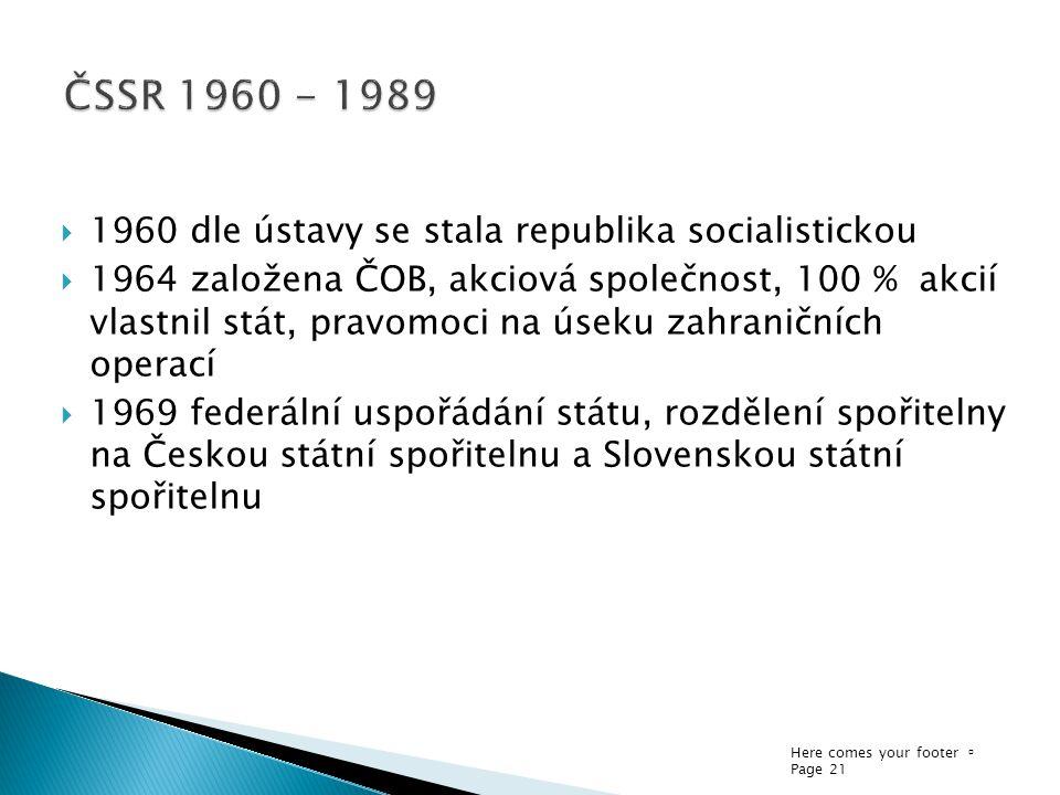 ČSSR 1960 - 1989 1960 dle ústavy se stala republika socialistickou