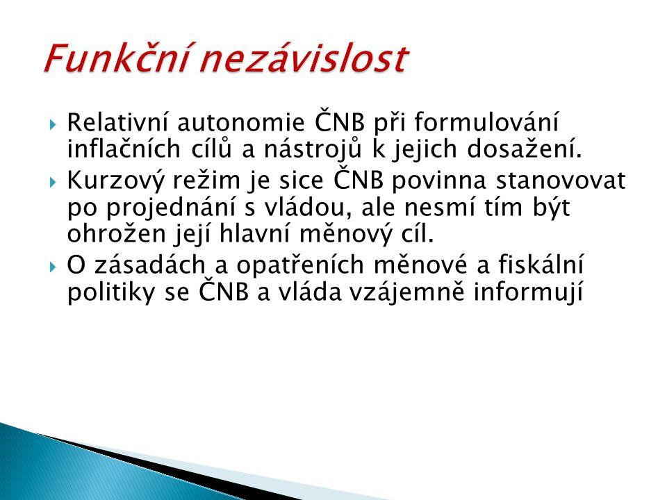 Funkční nezávislost Relativní autonomie ČNB při formulování inflačních cílů a nástrojů k jejich dosažení.