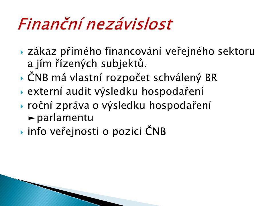 Finanční nezávislost zákaz přímého financování veřejného sektoru a jím řízených subjektů. ČNB má vlastní rozpočet schválený BR.