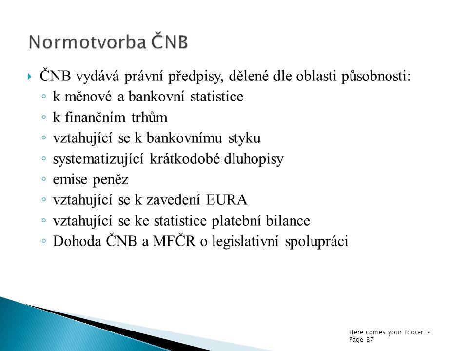 Normotvorba ČNB ČNB vydává právní předpisy, dělené dle oblasti působnosti: k měnové a bankovní statistice.