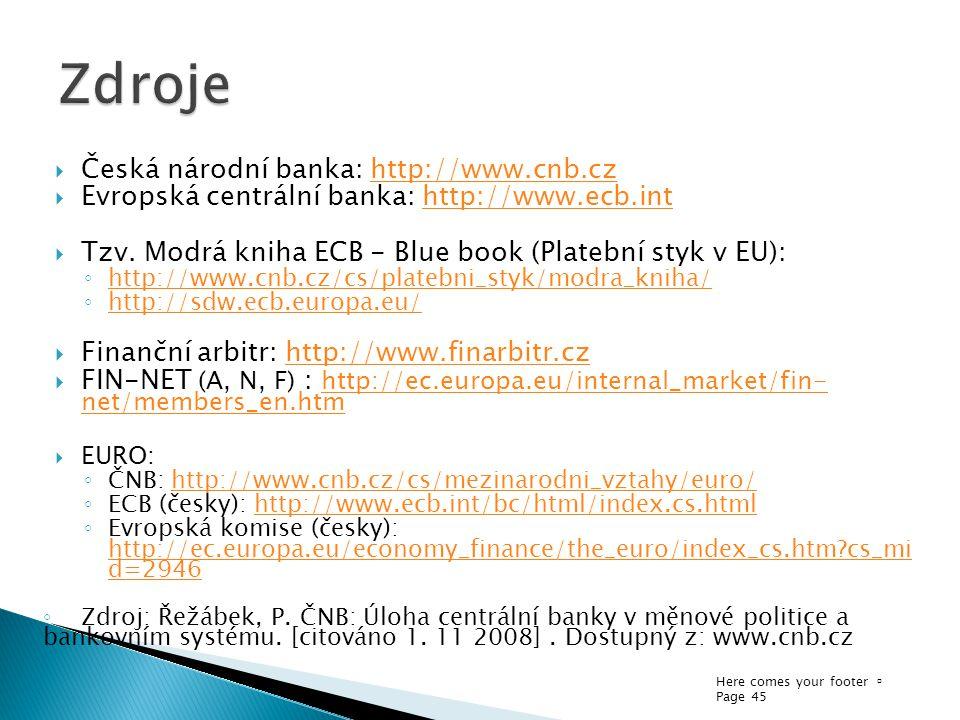 Zdroje Česká národní banka: http://www.cnb.cz