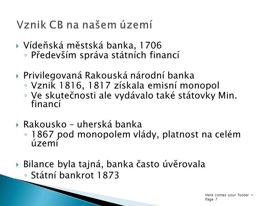 Vznik CB na našem území Vídeňská městská banka, 1706