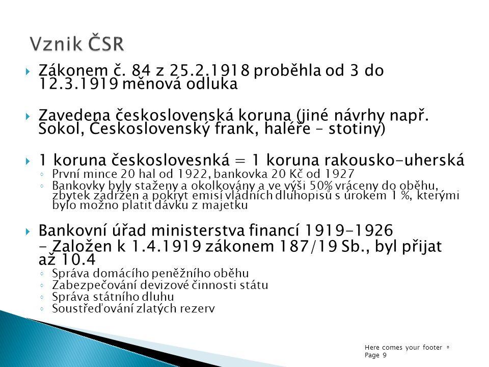 Vznik ČSR Zákonem č. 84 z 25.2.1918 proběhla od 3 do 12.3.1919 měnová odluka.