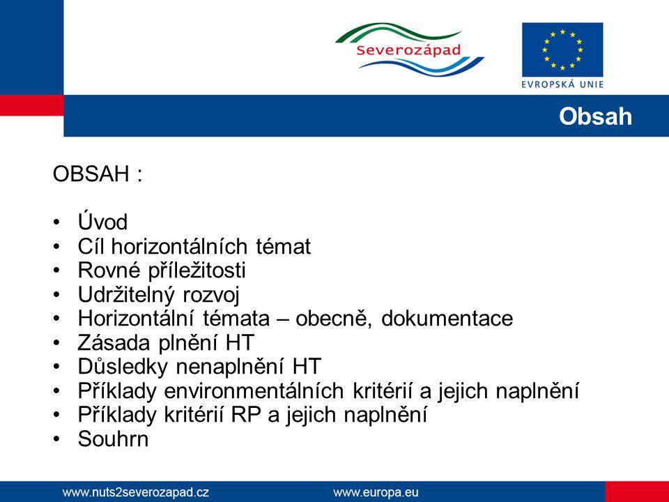 Obsah OBSAH : Úvod Cíl horizontálních témat Rovné příležitosti