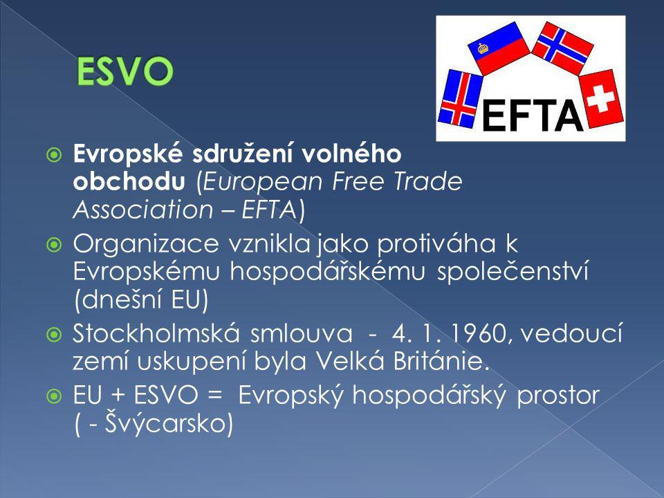 ESVO Evropské sdružení volného obchodu (European Free Trade Association – EFTA)