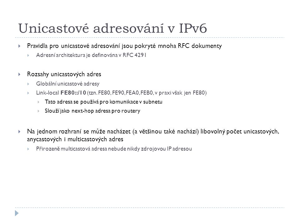 Unicastové adresování v IPv6