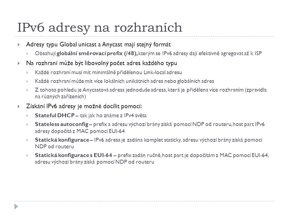 IPv6 adresy na rozhraních