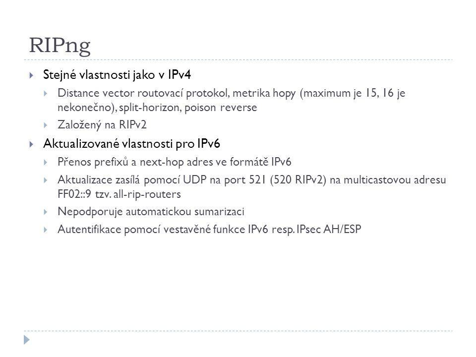 RIPng Stejné vlastnosti jako v IPv4 Aktualizované vlastnosti pro IPv6