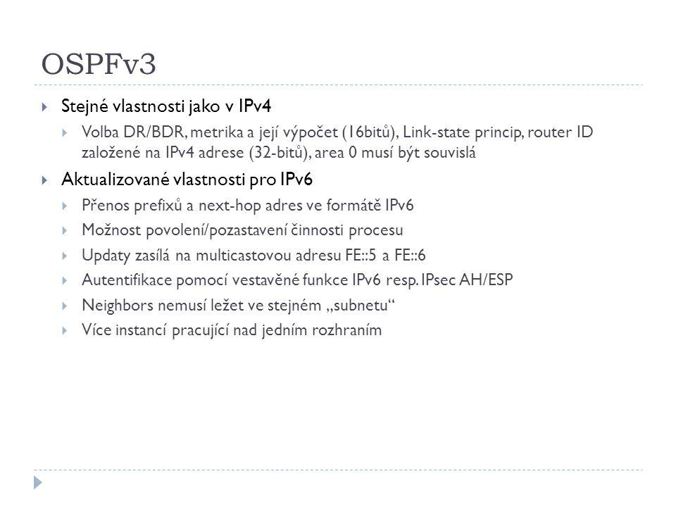 OSPFv3 Stejné vlastnosti jako v IPv4 Aktualizované vlastnosti pro IPv6