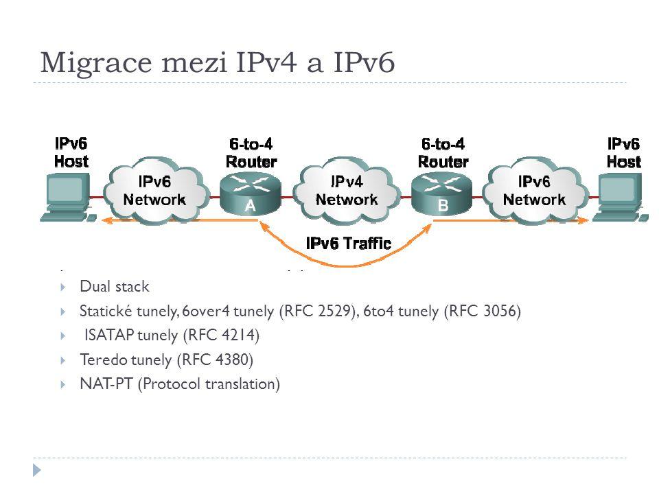 Migrace mezi IPv4 a IPv6 Pro migraci mezi IPv4 a IPv6 je definováno několik různých mechanismů, proto není nutné učinit skokový přechod.