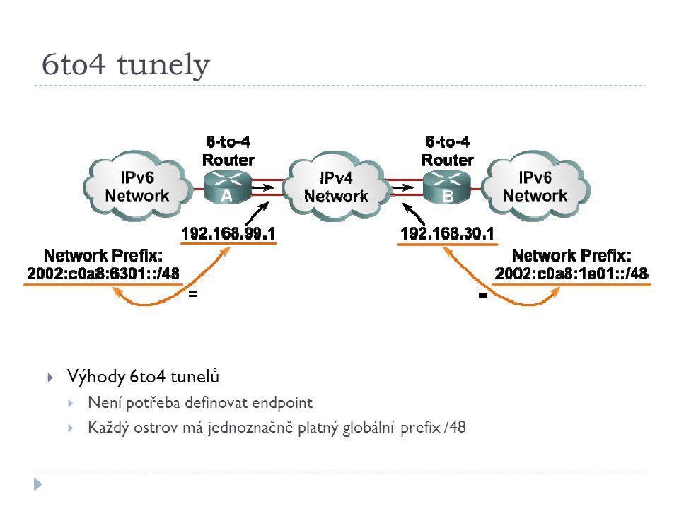 6to4 tunely Výhody 6to4 tunelů Není potřeba definovat endpoint