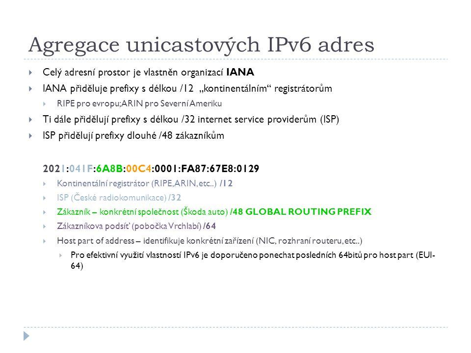 Agregace unicastových IPv6 adres