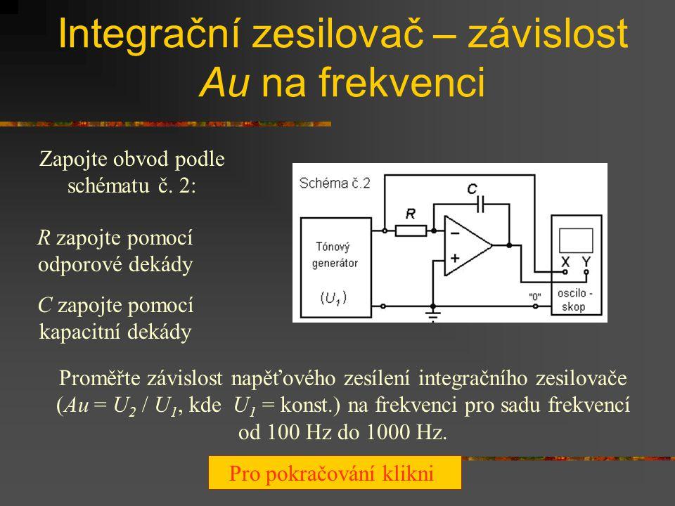 Integrační zesilovač – závislost Au na frekvenci