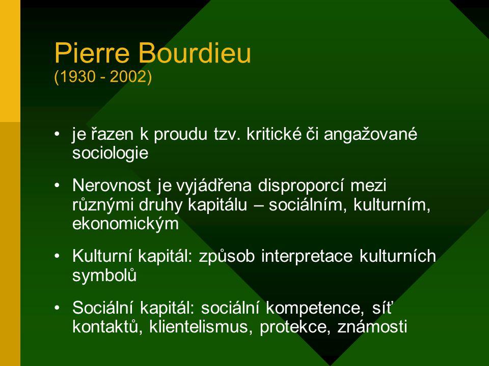 Pierre Bourdieu (1930 - 2002) je řazen k proudu tzv. kritické či angažované sociologie.