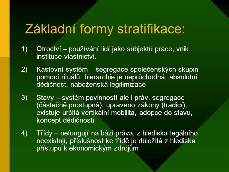 Základní formy stratifikace:
