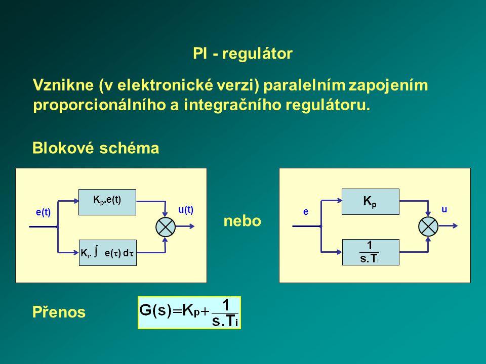 PI - regulátor Vznikne (v elektronické verzi) paralelním zapojením proporcionálního a integračního regulátoru.