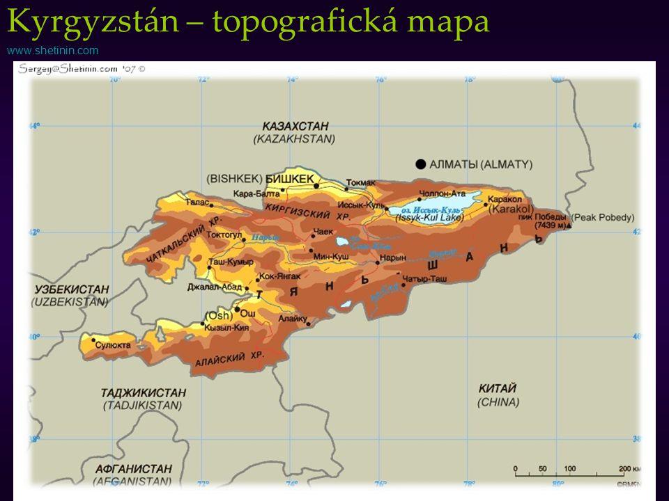 Kyrgyzstán – topografická mapa