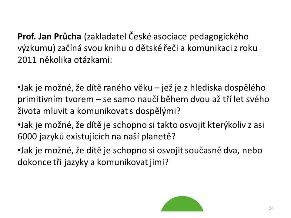 Prof. Jan Průcha (zakladatel České asociace pedagogického výzkumu) začíná svou knihu o dětské řeči a komunikaci z roku 2011 několika otázkami: