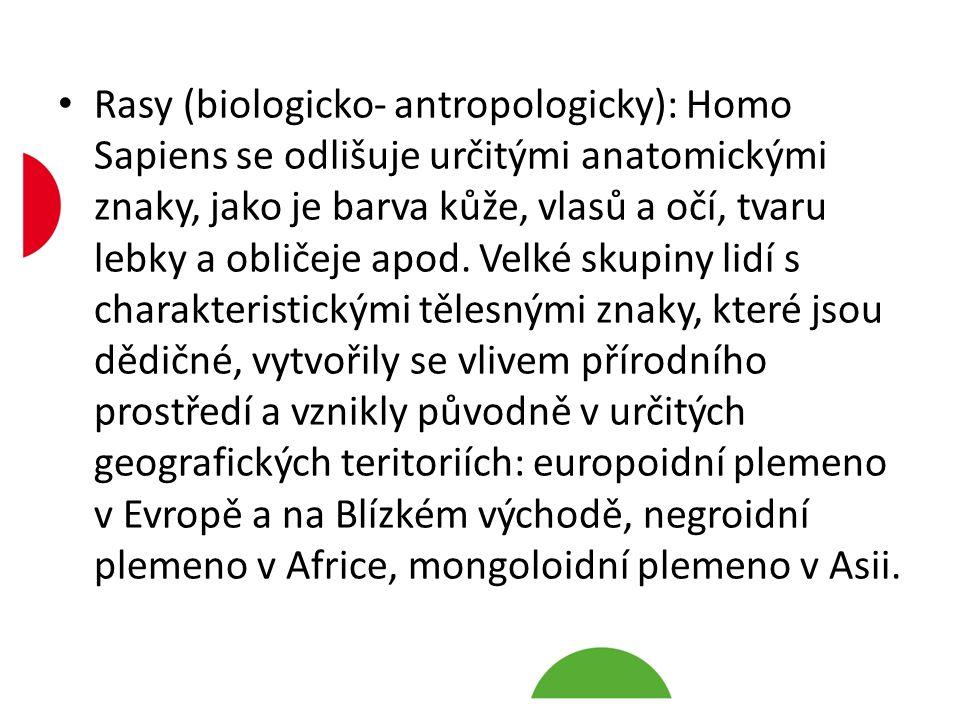 Rasy (biologicko- antropologicky): Homo Sapiens se odlišuje určitými anatomickými znaky, jako je barva kůže, vlasů a očí, tvaru lebky a obličeje apod.