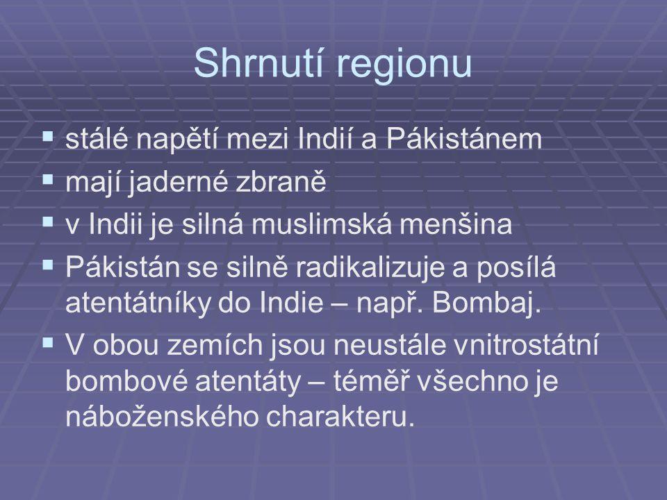 Shrnutí regionu stálé napětí mezi Indií a Pákistánem
