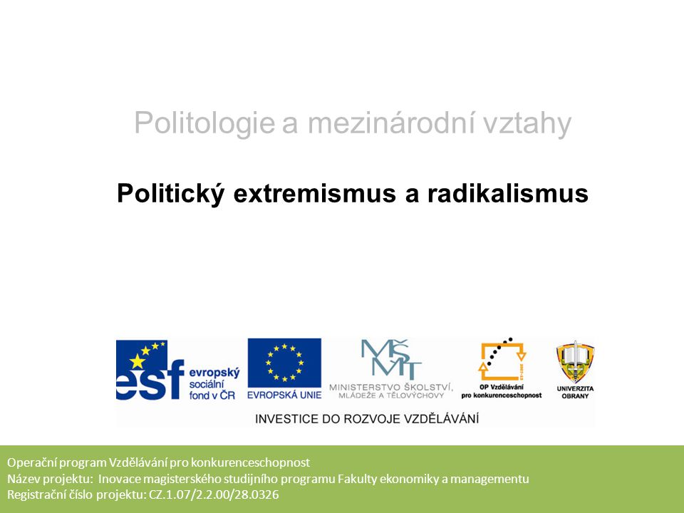 Politický extremismus a radikalismus