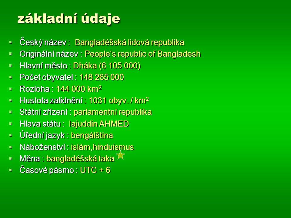 základní údaje Český název : Bangladéšská lidová republika