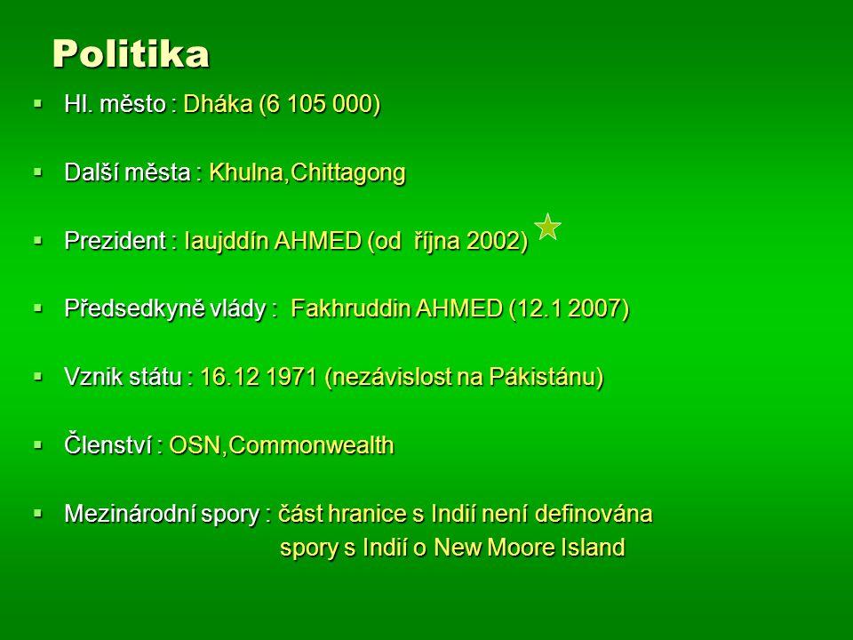 Politika Hl. město : Dháka (6 105 000) Další města : Khulna,Chittagong