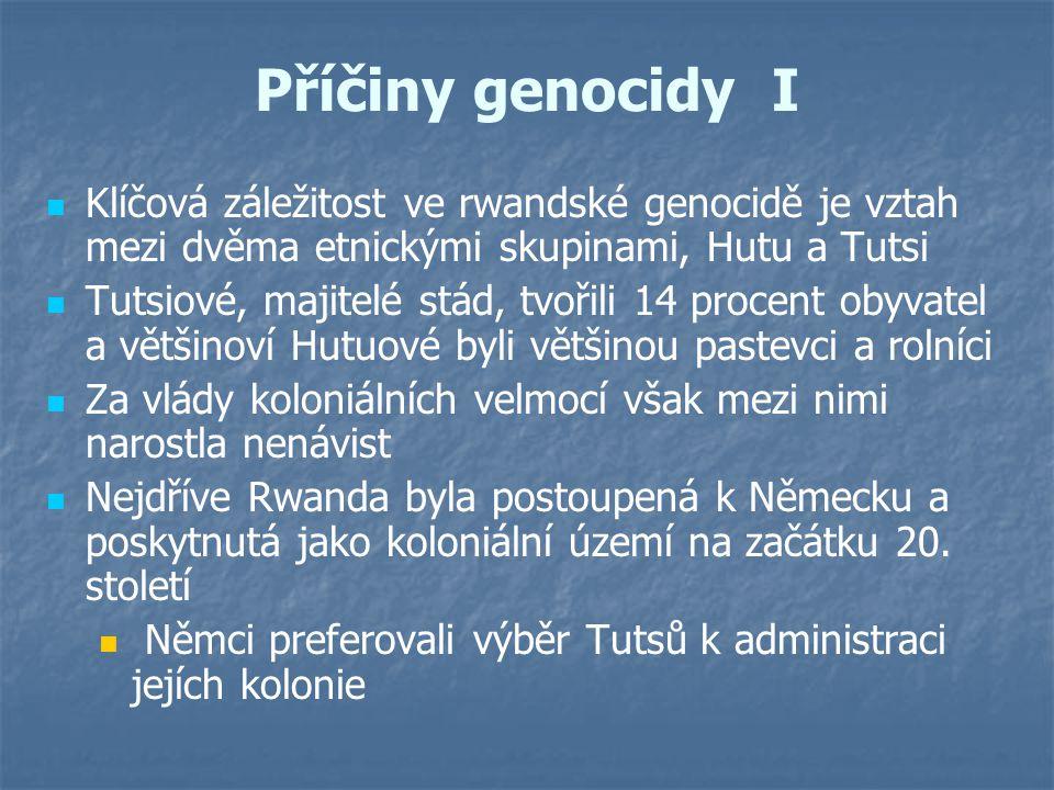 Příčiny genocidy I Klíčová záležitost ve rwandské genocidě je vztah mezi dvěma etnickými skupinami, Hutu a Tutsi.