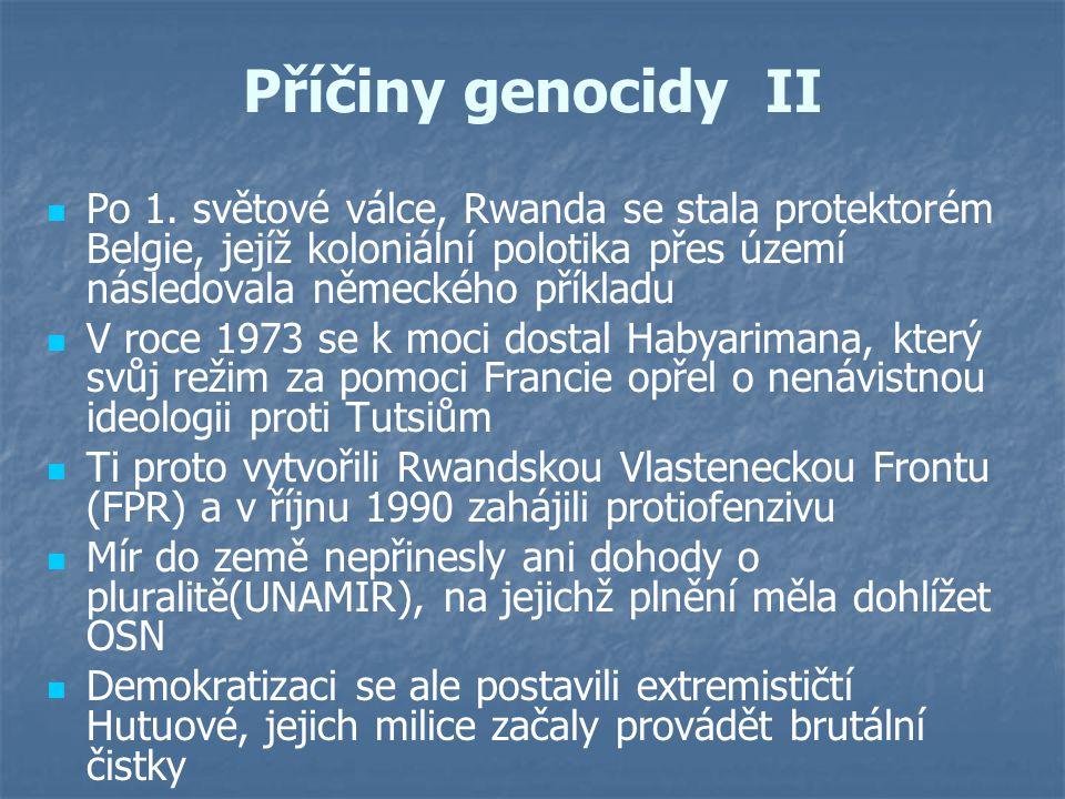 Příčiny genocidy II Po 1. světové válce, Rwanda se stala protektorém Belgie, jejíž koloniální polotika přes území následovala německého příkladu.