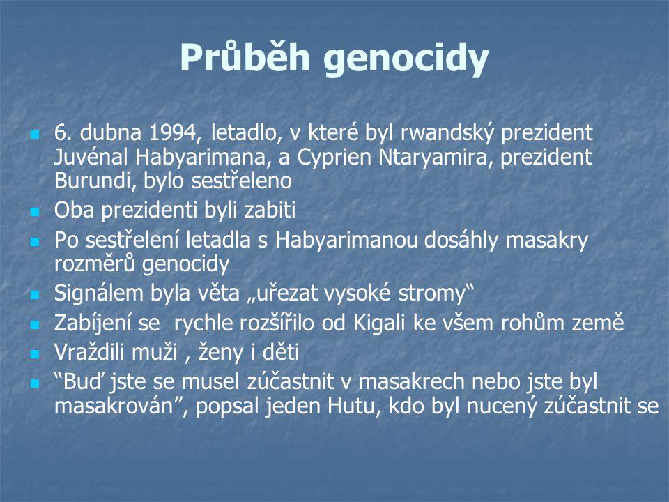 Průběh genocidy 6. dubna 1994, letadlo, v které byl rwandský prezident Juvénal Habyarimana, a Cyprien Ntaryamira, prezident Burundi, bylo sestřeleno.