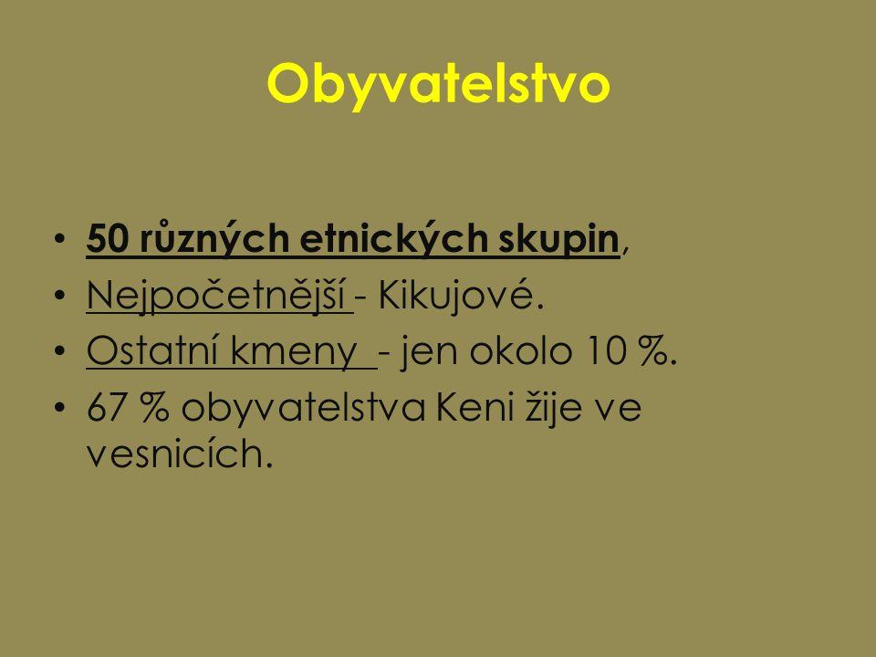 Obyvatelstvo 50 různých etnických skupin, Nejpočetnější - Kikujové.