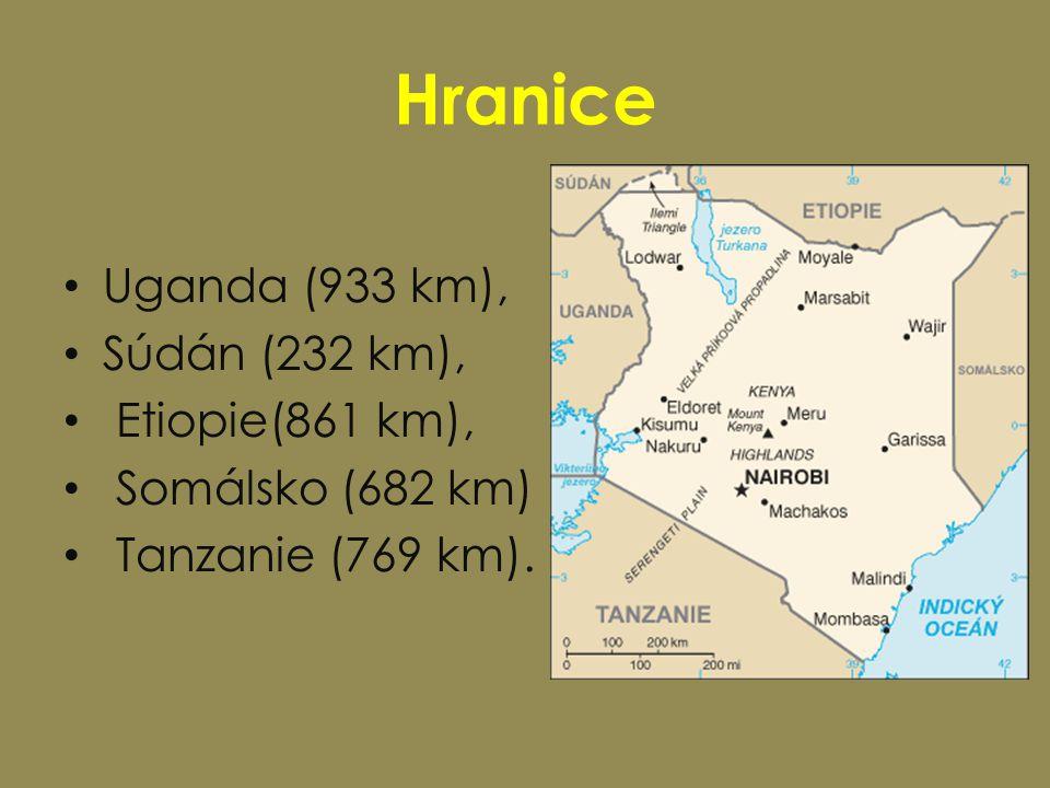 Hranice Uganda (933 km), Súdán (232 km), Etiopie(861 km),