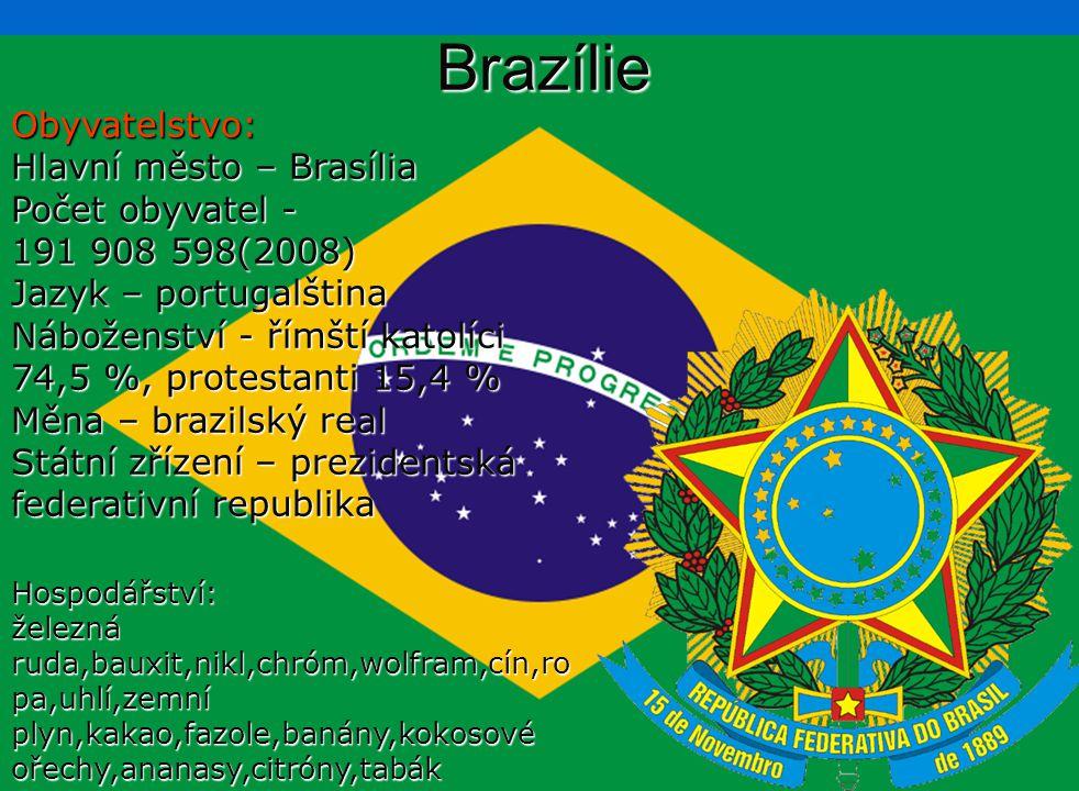 Brazílie Obyvatelstvo: Hlavní město – Brasília