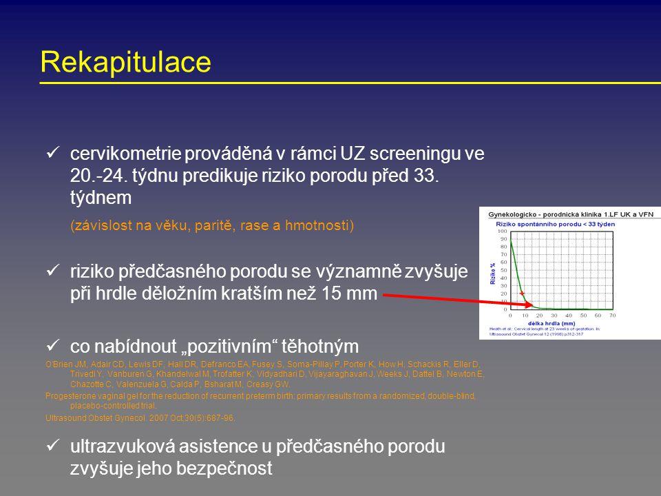 Rekapitulace cervikometrie prováděná v rámci UZ screeningu ve 20.-24. týdnu predikuje riziko porodu před 33. týdnem.