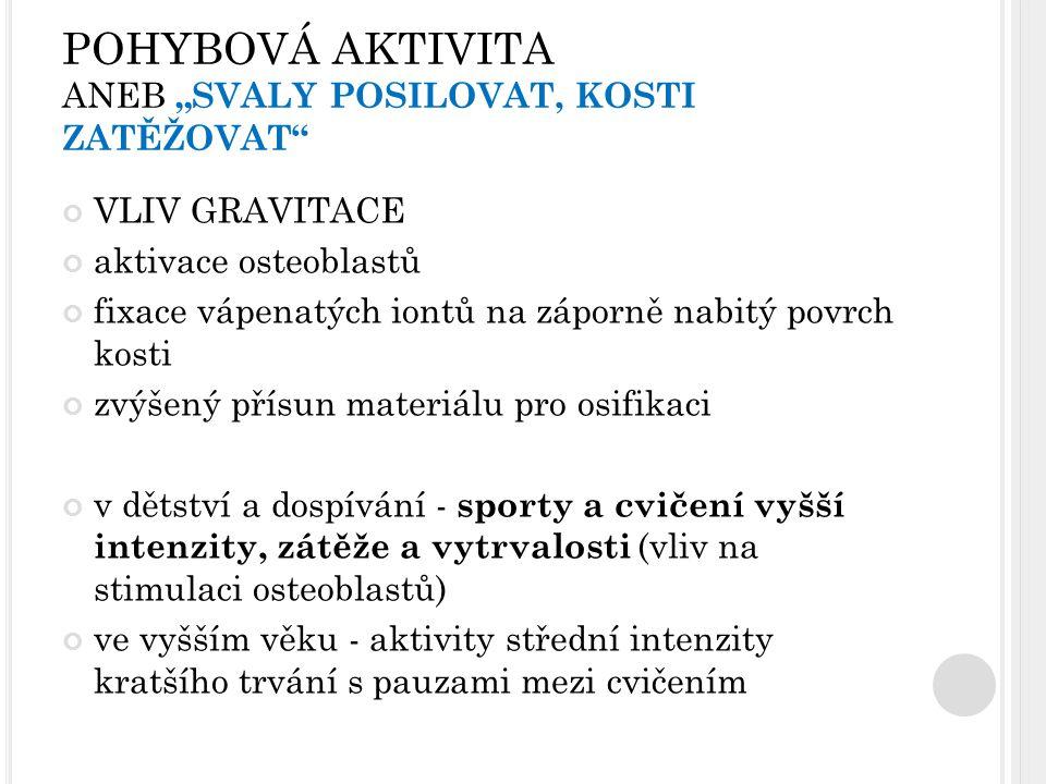 """POHYBOVÁ AKTIVITA ANEB """"SVALY POSILOVAT, KOSTI ZATĚŽOVAT"""