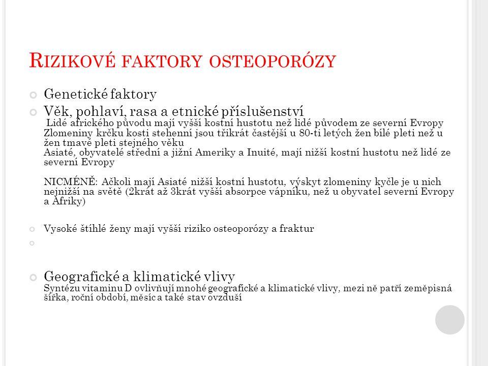 Rizikové faktory osteoporózy