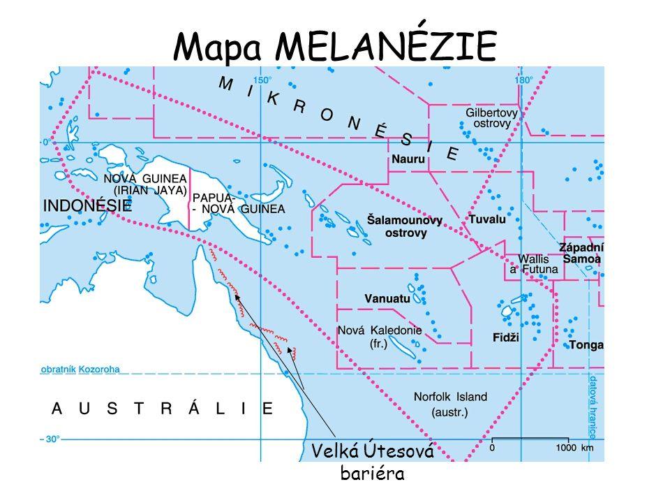 Mapa MELANÉZIE Velká Útesová bariéra