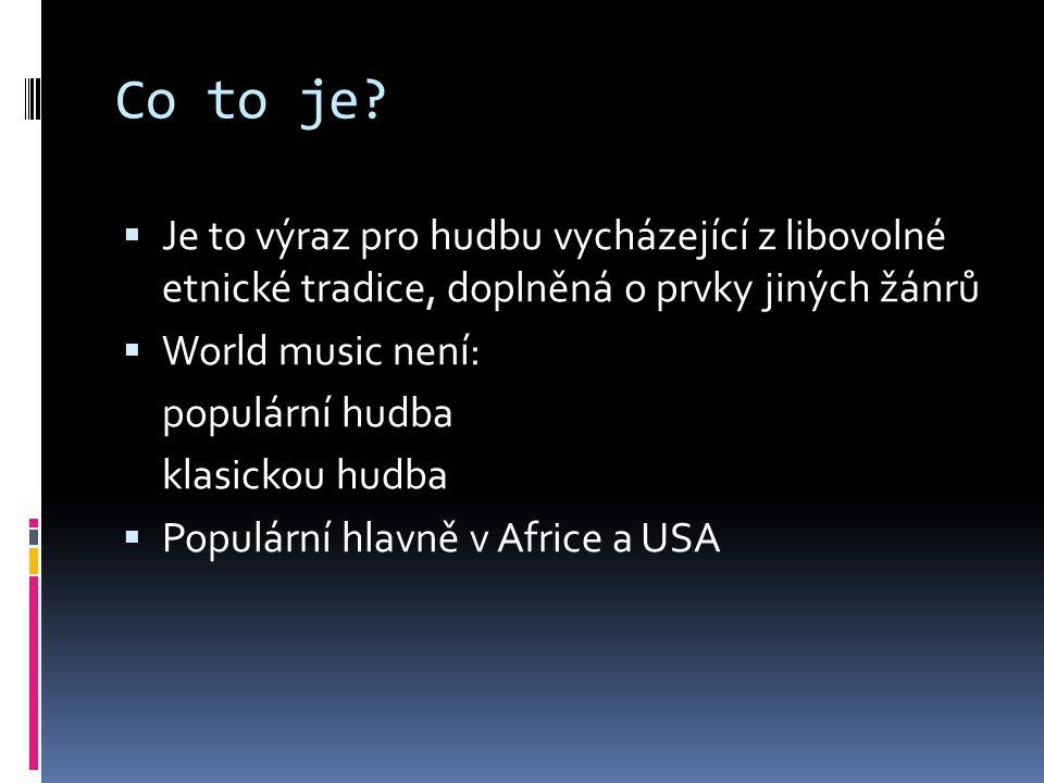 Co to je Je to výraz pro hudbu vycházející z libovolné etnické tradice, doplněná o prvky jiných žánrů.