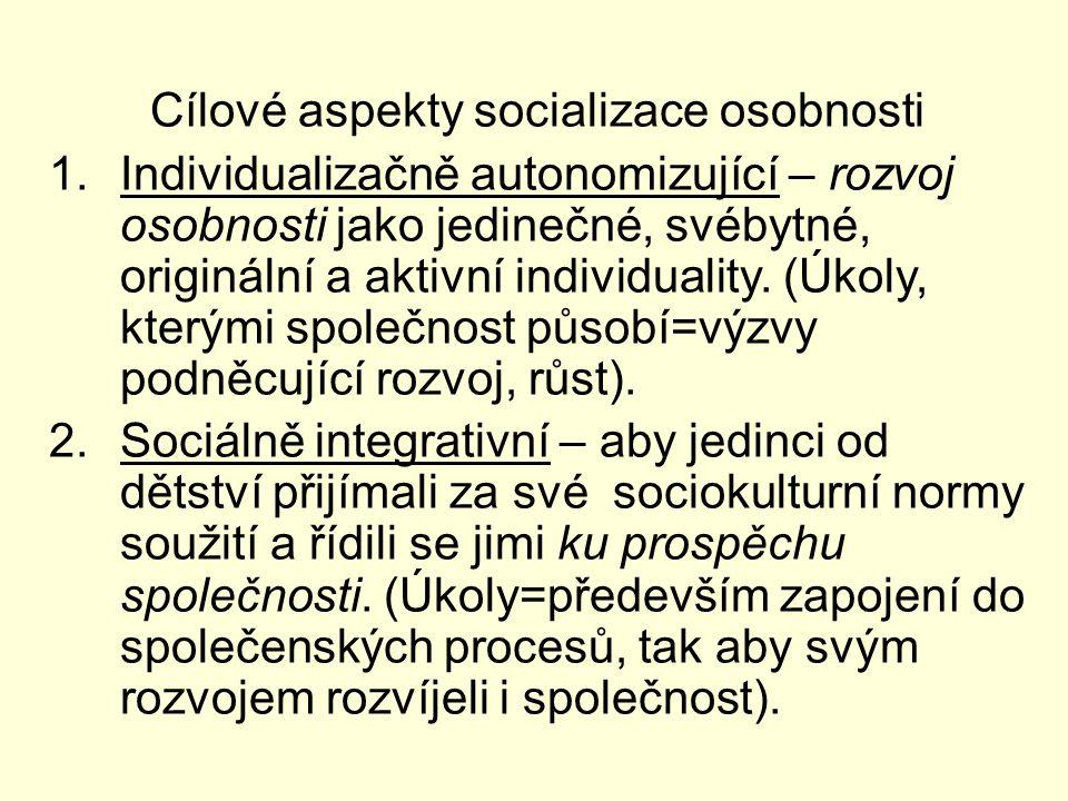 Cílové aspekty socializace osobnosti