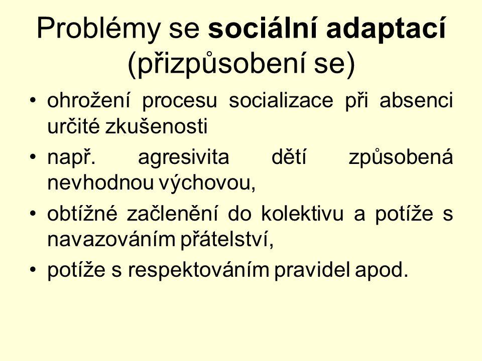 Problémy se sociální adaptací (přizpůsobení se)