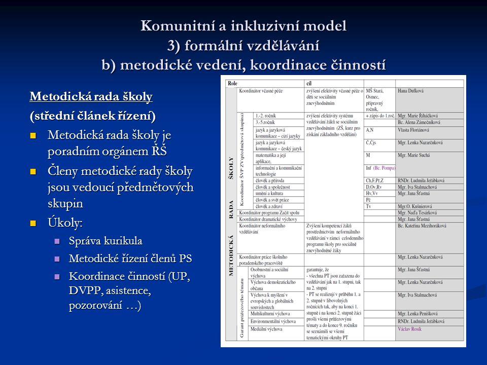 Komunitní a inkluzivní model 3) formální vzdělávání b) metodické vedení, koordinace činností