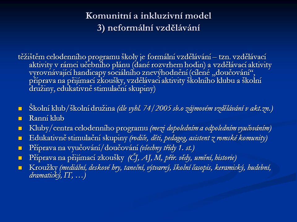 Komunitní a inkluzivní model 3) neformální vzdělávání